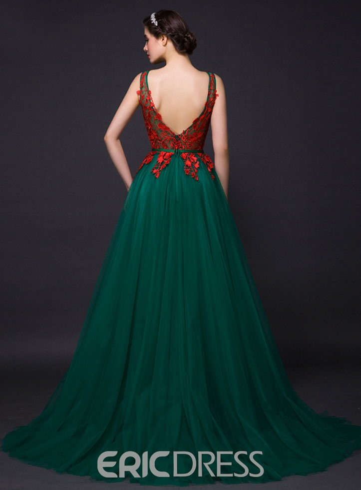 Ericdress A-Line Jewel Neck Appliques Evening Dress