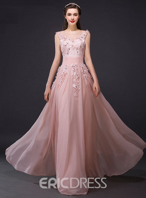 Ericdress Scoop Neck Beading Appliques Evening Dress