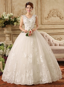 Ericdress V-Neck Appliques Beaded Ball Gown Wedding Dress