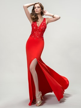 Fantastic V-Neck Side Split Appliques Sheath Evening Dress