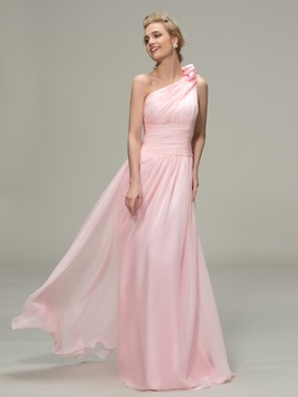 Ericdress One Shoulder Ruched A-Line Bridesmaid Dress
