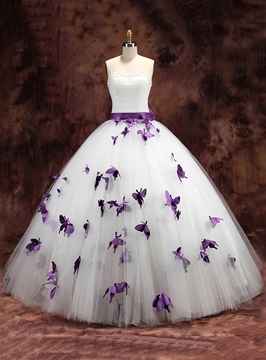 Ericdress Straps Butterfly Ball Gown Wedding Dress
