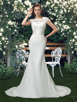 Court Train Backless Lace Trumpet/Mermaid Wedding Dress
