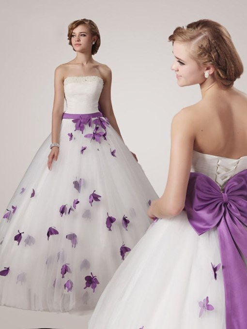 Ericdress Strapless Butterfly Appliques Ball Gown Wedding Dress