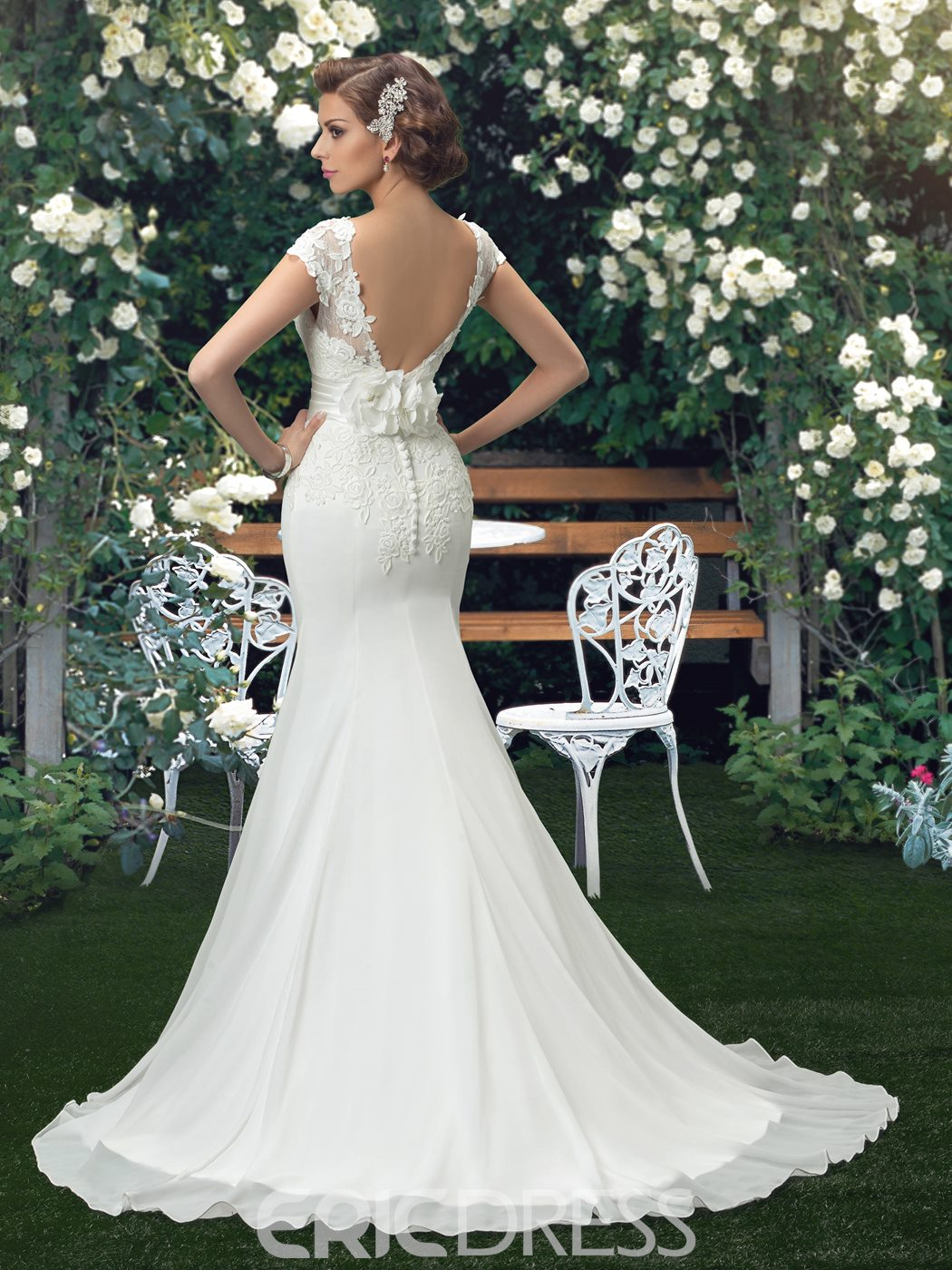 Ericdress Cap Sleeve Appliques Mermaid Wedding Dress