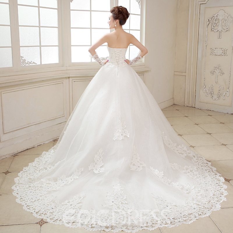 Ericdress Beading Appliques Cathedral Train Strapless Wedding Dress