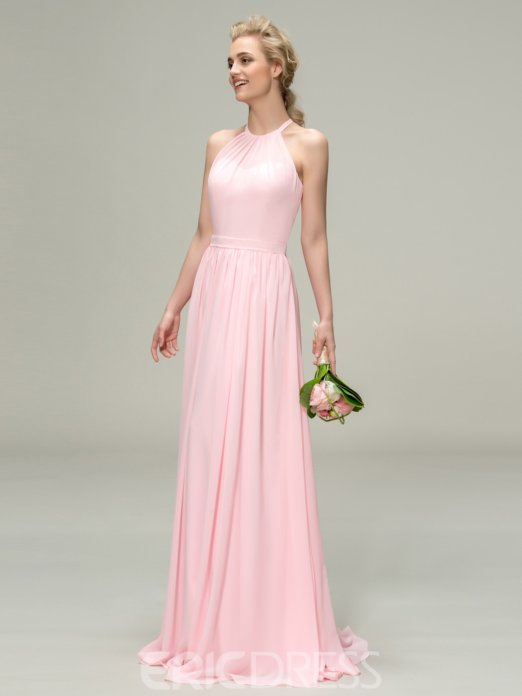 Simple Halter Ruched A-Line Zipper-Up Bridesmaid Dress