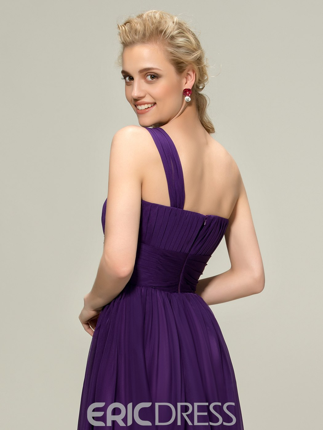 Ericdress Concise One-Shoulder Ruched Knee-Length Bridesmaid Dress