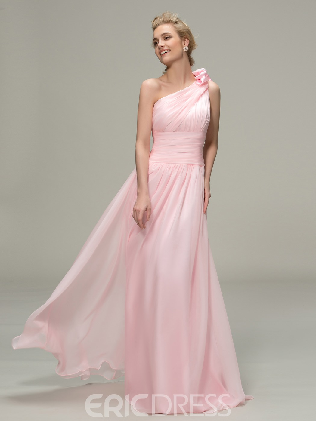 Concise One Shoulder Ruched A-Line Bridesmaid Dress