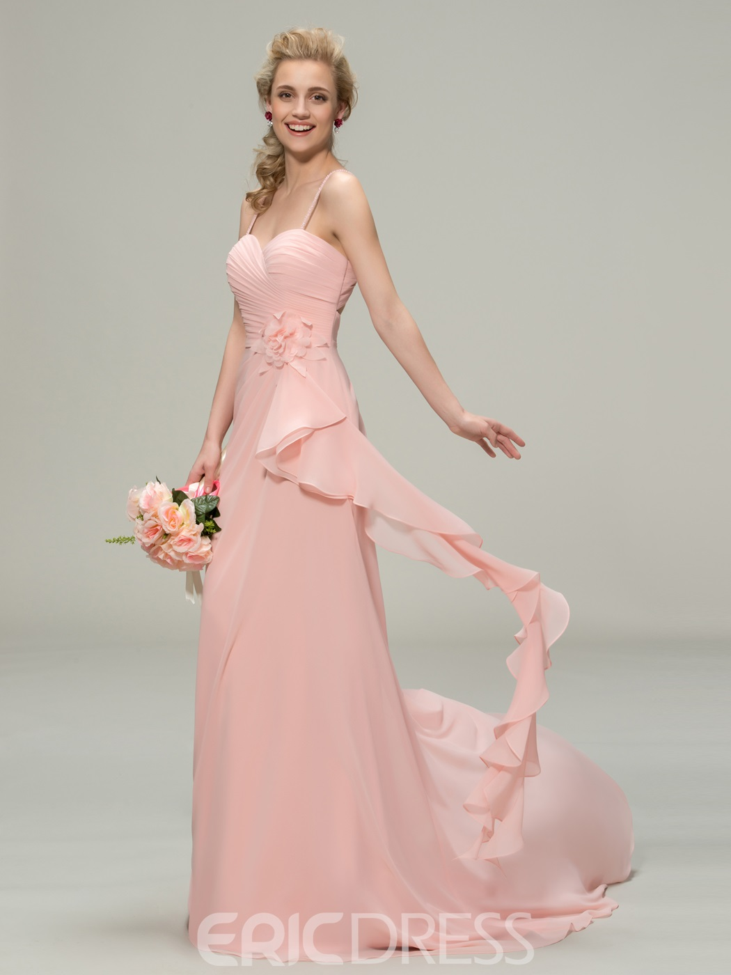 Pretty Spaghetti Straps Flowers A-Line Bridesmaid Dress