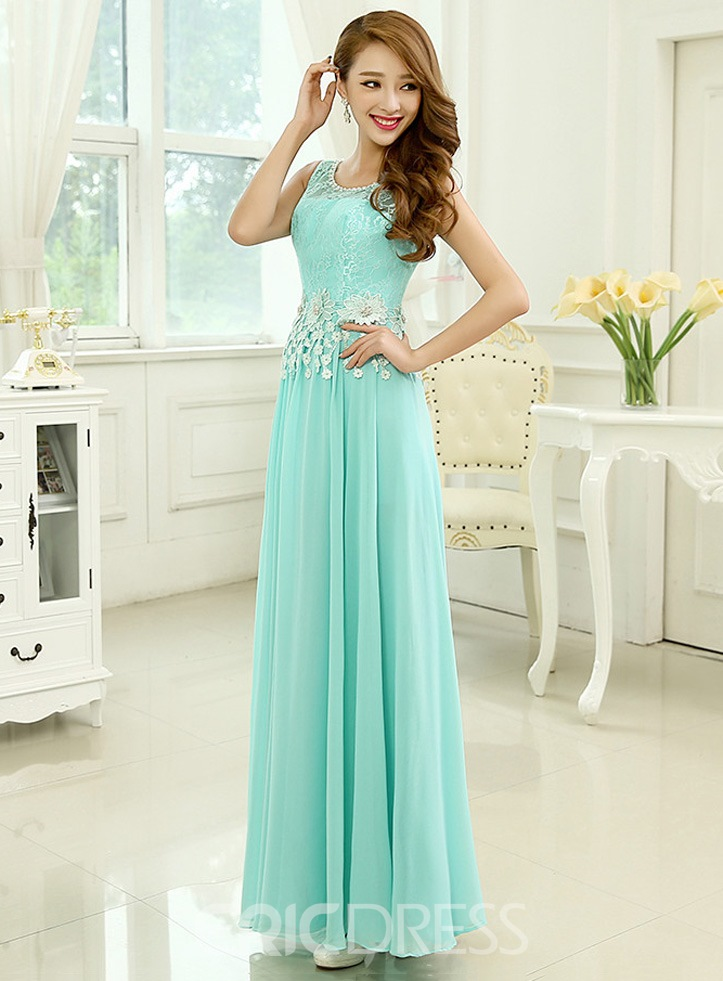 Ericdress Round Neck A-Line Floor-Length Prom Dress