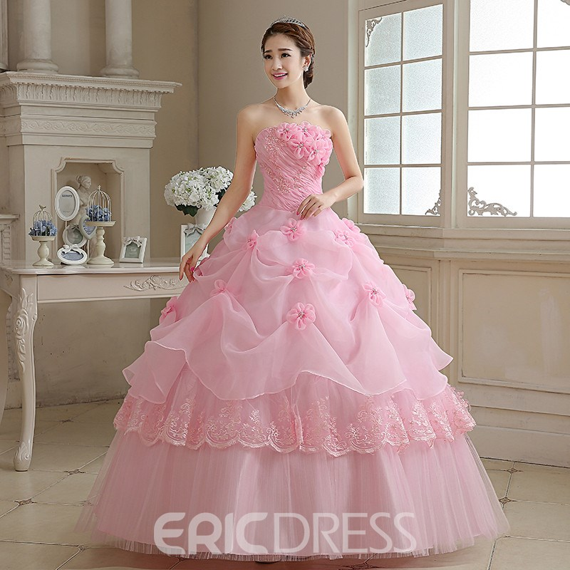 Ericdress Strapless Ball Flowe Quinceanera Dress With Lace-Up Back
