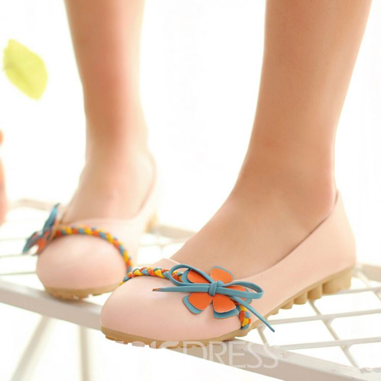 Ericdress Spring Fresh Sweet Flats with Flower&bowknot
