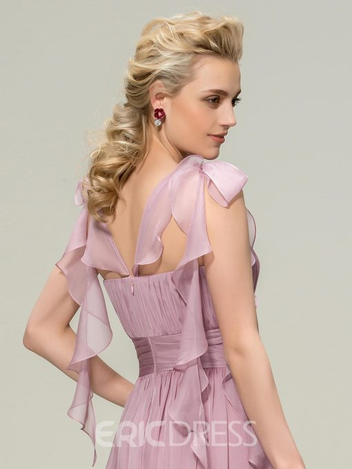 Concise Straps Bowknot Ruched A-Line Bridesmaid Dress