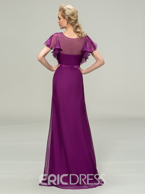 V-Neck Short Sleeve Chiffon Long Bridesmaid Dress
