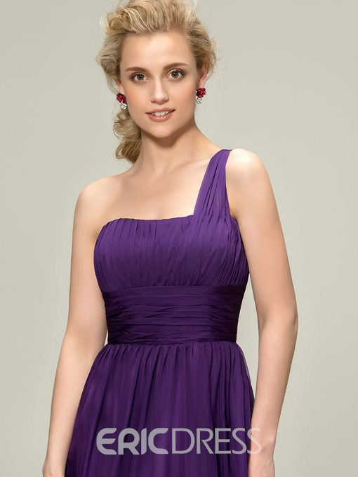 Ericdress One-Shoulder Ruched Knee Length Bridesmaid Dress
