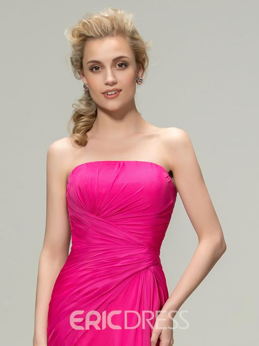 Ericdress Concise Ruched Strapless Sheath Long Bridesmaid Dress