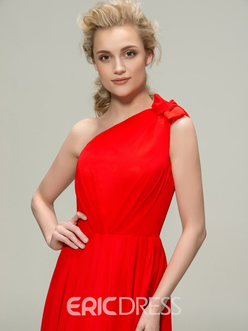 Concise One-Shoulder A-Line Long Bridesmaid Dress