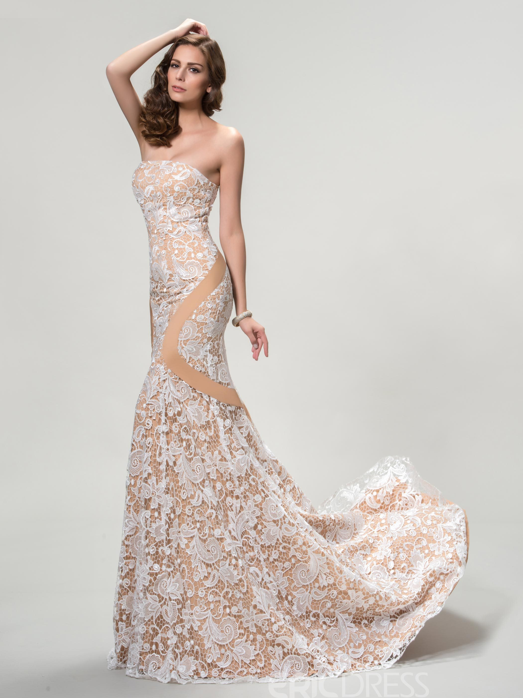 Strapless Mermaid Lace Evening Dress