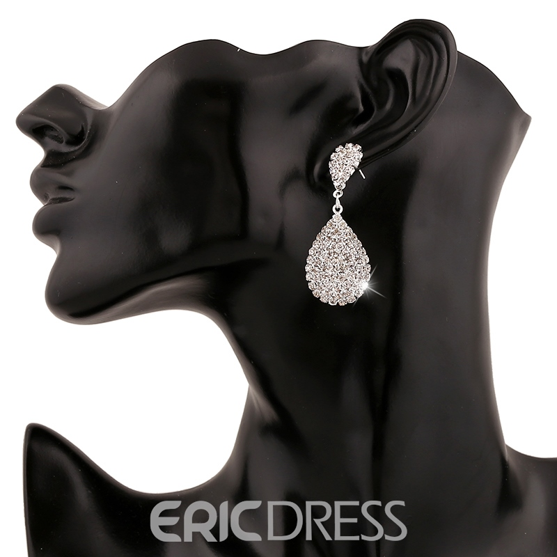 Ericdress Water Drop Rhinestone Earrings