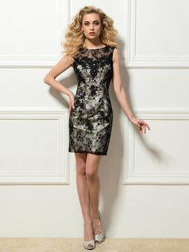 Epidemic Round Neck V-Back Short Sheath Cocktail Dress