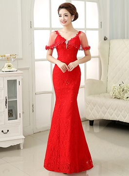 Ericdress V-Neck Cap Sleeves Mermaid Evening Dress
