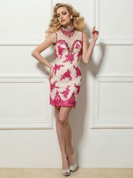 High Neck Sheath Lace Beadings Appliques Short Cocktail Dress
