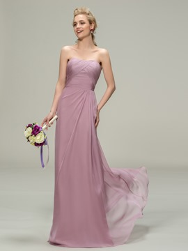 Concise Strapless Sheath Long Chiffon Bridesmaid Dress