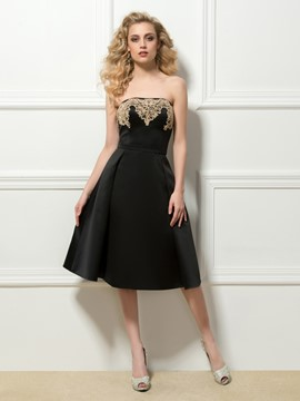 Timeless Strapless A-Line Appliques Tea-Length Cocktail Dress
