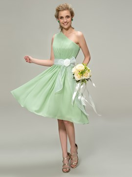 Pretty One-Shoulder Sash Flower Bridesmaid Dress