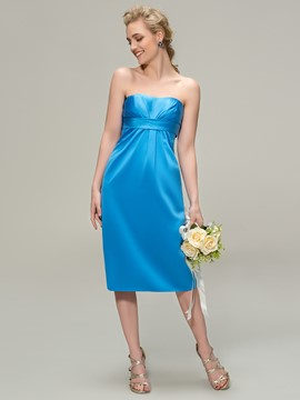 Elegant Sheath Strapless Knee-Length Zipper-Up Bridesmaid Dress