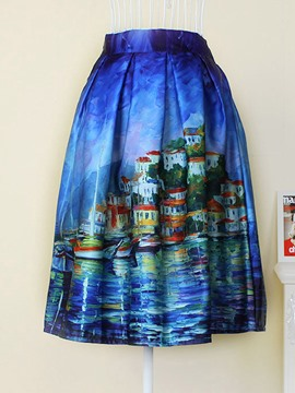 Ericdress Print High Waist Pleated Skirt
