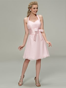 Sinple Halter Knee Length Zipper Up Bridesmaid Dress