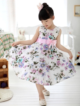 Ericdress Grey Floral Print Bowknot Decorated Girl's Dress