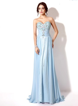 Ericdress Comfortable Sweetheart Beaded Lace-Up Long Prom Dress