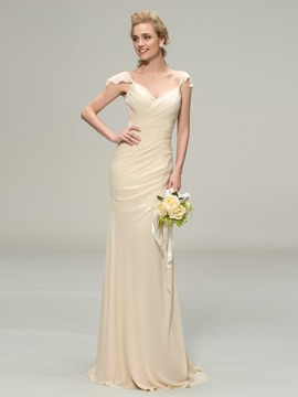 Classy V-Neck Cap Sleeve Sheath Long Bridesmaid Dress
