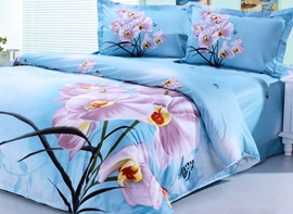 3D Orchid Printed Cotton 4-Piece Light Blue Bedding Sets/Duvet Covers