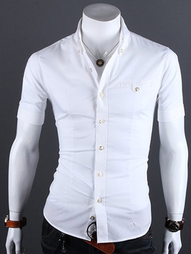 Ericdress Lapel Single-Breasted Half Sleeve Shirt