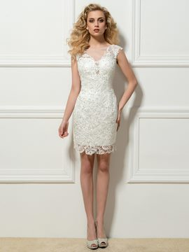Sleeveless Lace Beading Column Short Cocktail Dress