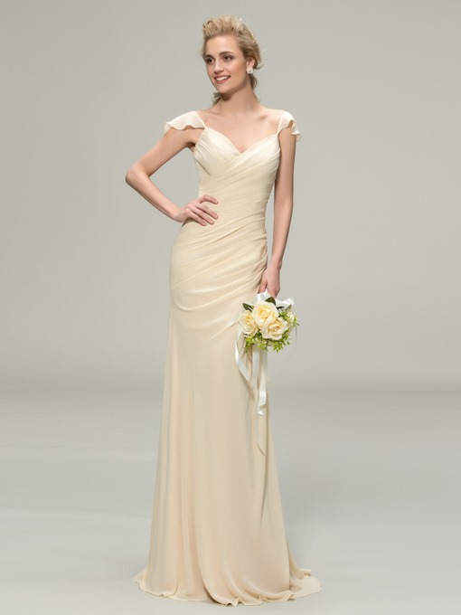 Ericdress Pleats Cap Sleeve Sheath Bridesmaid Dress