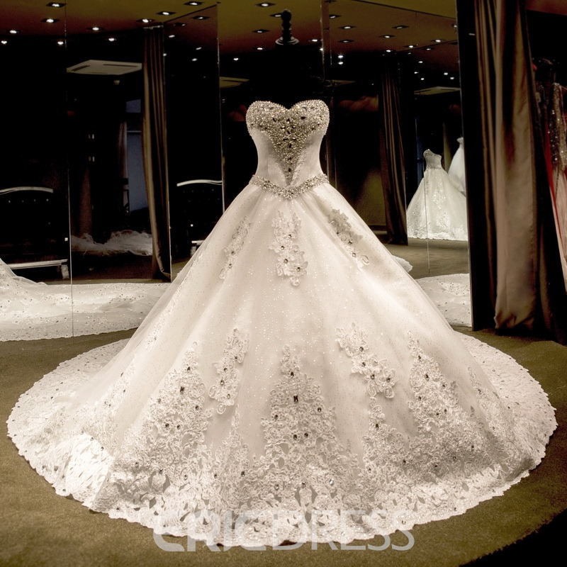 Ericdress Sweetheart Beading Cathedral Train Wedding Dress