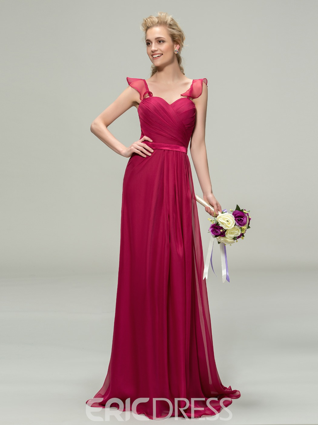 Charming ruched sweetheart a line chiffon long bridesmaid dress ombrellifo Gallery