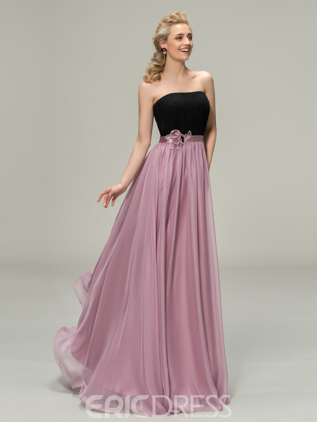 Ericdress Strapless Flowers Beading Bridesmaid Dress