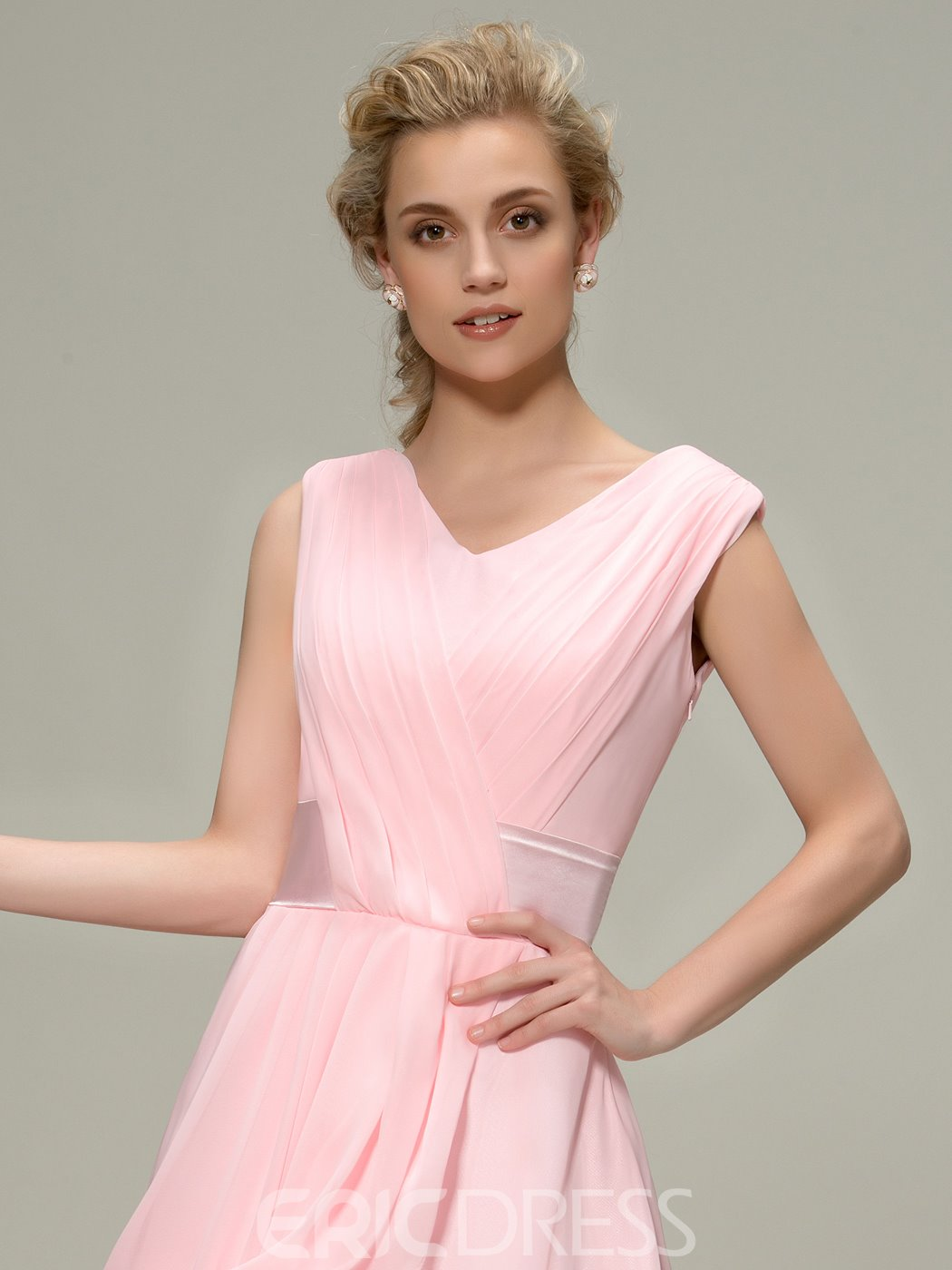 Charming Ruched A-Line V-Neck Tea-Length Bridesmaid Dress