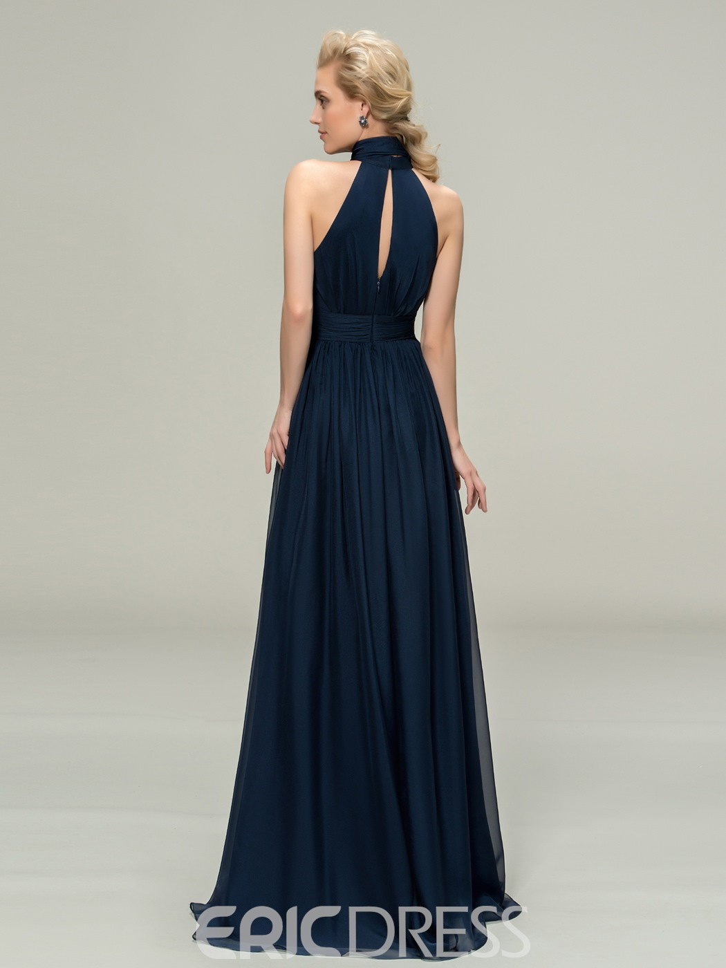 Classy High Neck Sleeveless A-Line Long Bridesmaid Dress
