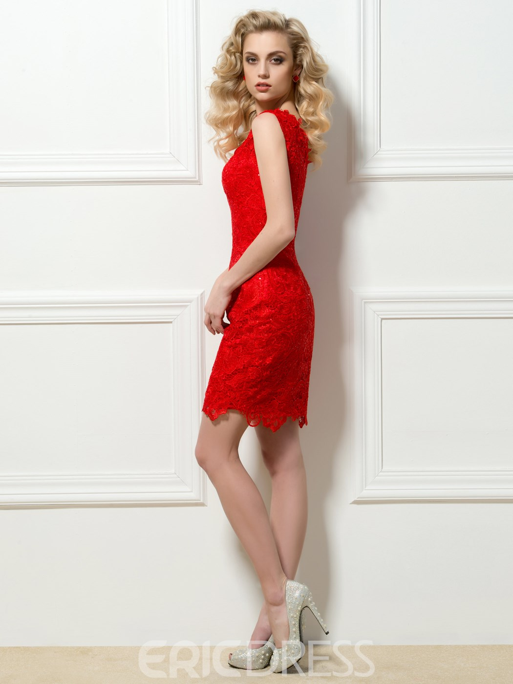 Attractive One-Shoulder Lace Sequins Short Cocktail Dress
