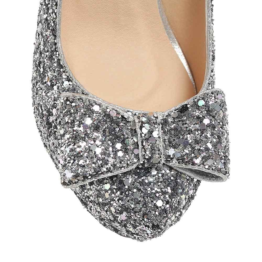 Shining Sequin Bowknot Patchwork Pumps