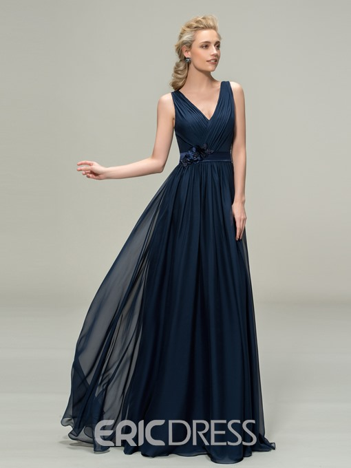 Charming V-Neck Straps Floor Length A-Line Bridesmaid Dress