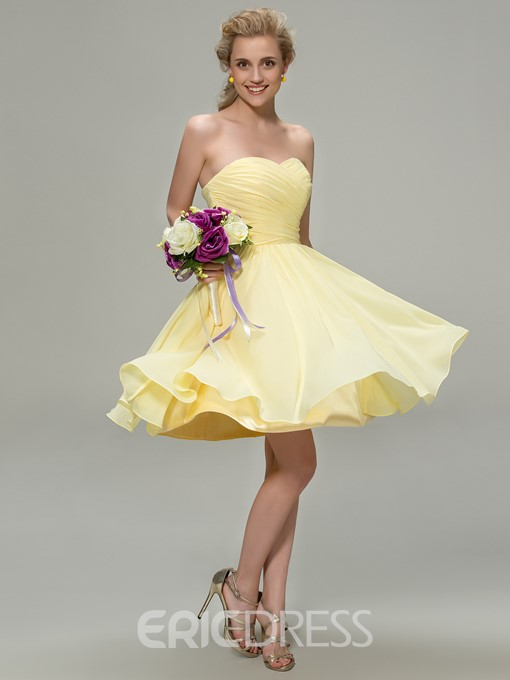 Ericdress Sweetheart Pleats Beach Bridesmaid Dress
