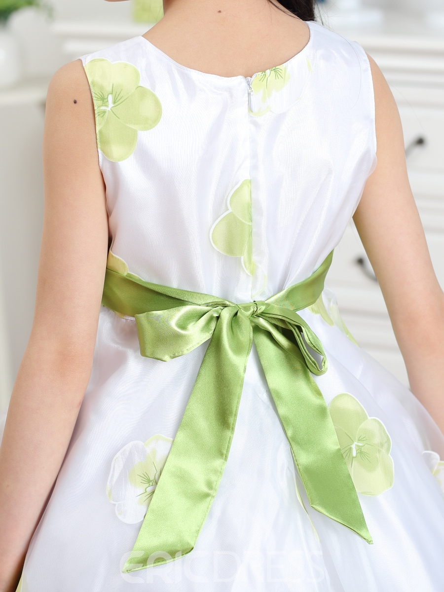 Ericdress Green Floral Print Bowknot Decorated Girl's Dress